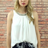 Ivory Sleeveless Chiffon Embellished Collar Blouse