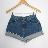 Vintage High Waist Cut Off Denim Blue Jean Shorts Cuffed 24""