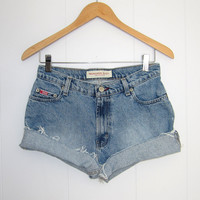 Vintage Vintage Cut Off Shorts Mid High Waist Denim Jean Cuffed Shorts Blue 27""