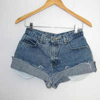 Vintage Cut Off High Waisted Jean Shorts Blue Denim Cuffed 25""