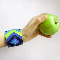 Leather Geometric Cuff Bracelet blue and lime, geometric jewelry, natural leather jewelry, chevron, modern