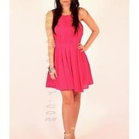 Pink Open Back Halter Dress