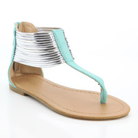 Mint Gold Ankle Cuff T-Strap Sandal | something special every day