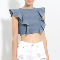 Denim Ruffle Sleeve Crop Top | MakeMeChic.com
