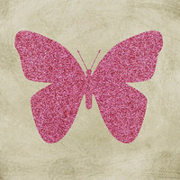 Pink Glitter Butterfly Printable Art Print, Vintage Nursery Art, Instant Download, Home Decor, Wall Art