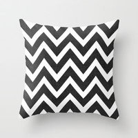 black chevron Throw Pillow by Her Art