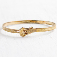 Antique Art Deco 10k Gold Filled Bracelet - Vintage 1930s Embossed Flower Design Tiny Child Bangle Jewelry with Adjustable Buckle