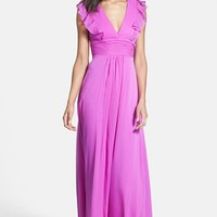 Jessica Simpson Ruffled Open Back Chiffon Maxi Dress | Nordstrom