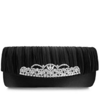 Vintage Style Evening Clutch Pleated Satin with Crystals Black