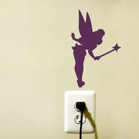 Tinkerbell Silhouette Velvet Wall Sticker - Kids Room Wall Art - Disney Fairy Decal