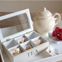 wooden tea box with six compartments by velvet brown | notonthehighstreet.com