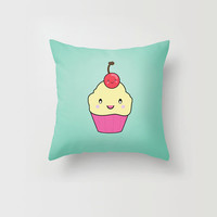 Throw Pillow Decorative Pillow Case Kawaii Cupcake Cherry Bakery Mint Japanese Made to Order Photo Pillow 16x16, 18x18, 20x20 Home Decor