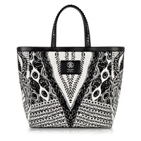 Roberto Cavalli Flo Black and White Large Canvas Tote