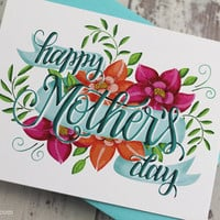 Happy Mother's day card - One white card with a light blue envelope - floral card for Mom