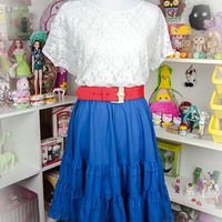 Kawaii Fairy Kei Sweet Lolita Navy Ruffle Tiered Puffy Cotton Vintage Elastic Waist Skirt Size L, XL
