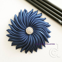 Navy blue wedding fascinator, satin flower fascinator, bridesmaid hair piece, blue fascinator, wedding accessory