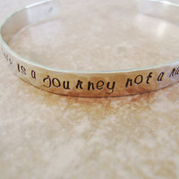 Life is a journey not a race silver hammered hand stamped cuff