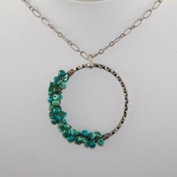 Turquoise Chip Wire Wrapped Antiqued Silver Circle Necklace