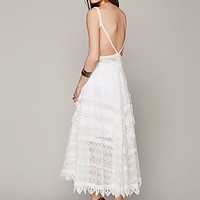 Free People Lace Apron Maxi