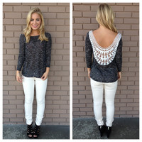 Black Knit Low Back Embroidered Top