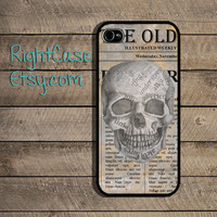 Skull Newspaper iPhone Case, Halloween iPhone 5S Case, Samsung Galaxy S4, Galaxy S3, iPhone 4 Case, iPhone 4s case, Art, Vintage Phone Case