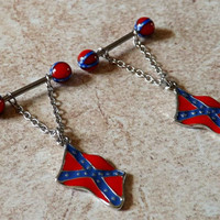 Nipple Ring Rebel Flag Confederate Flag Body Jewelry Barbelll