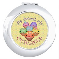 Cute Kawaii Cupcakes Compact Mirror