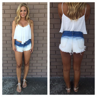 Destroyed Tie Dye Denim High Waisted Shorts
