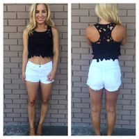 Black Hibiscus Cut Out Crop Top
