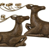 Uttermost Resting Deer Candleholders Set/2|17058 Get Free Gift with purchase at livingcomforts.com