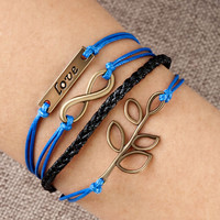 Infinity Bracelet Love Christmas Tree Of Life Sapphire Blue Braided Leather Rope, Bracelets, Friendship Bracelets | Pugster.com