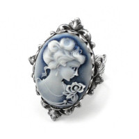 Gothic Lolita Ring - Neo Victorian Cameo Ring in Blue Shimmer with Antiqued Sterling Silver Plated Band - By Ghostlove