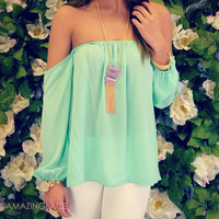 Melrose Mint Off Shoulder Chiffon Top