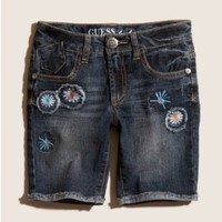 GUESS Kids Girls Denim Cutoffs with Embroidered Flowers