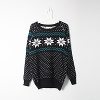 Korean Womens Christmas Snowflake loose Knitted Sweater Jumpers Free Shipping