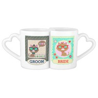 Hipster Cat Couple Bride & Groom Mugs