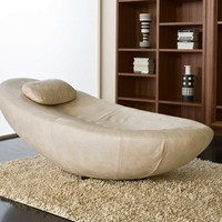 L'Officina Mustique Modern Chaise Lounge Bed White Suite Leather