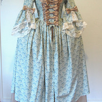 Blue-green and natural tones Marie Antoinette Victorian inspired rococo costume dress