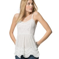 Sheer Ruffle Trim Tunic Tank