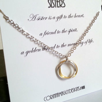 Sisters Necklace Gift, Love, Inspirational Jewelry Silver, Gold, Gift Set, Wedding, Birthday