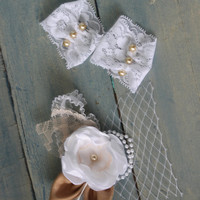 Infant Lace Cuffs with Matching Headband - Baby Fingerless Gloves - Infant Photo Prop Set - Newborn Photo Prop