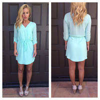 Mint Drawstring Dress