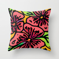 Bold Flora Throw Pillow by Lisa Argyropoulos | Society6