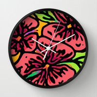 Bold Flora Wall Clock by Lisa Argyropoulos | Society6