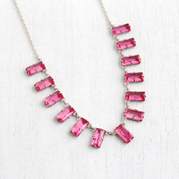 Antique Art Deco Pink Glass Necklace- 1920s 1930s Silver Tone Prong Set Open Back Crystal Jewelry