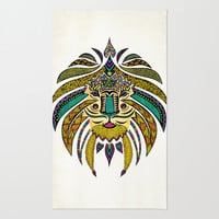 Emperor Tribal Lion Area & Throw Rug by Pom Graphic Design