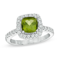 Cushion-Cut Peridot and Lab-Created White Sapphire Frame Ring in Sterling Silver