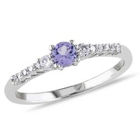Tanzanite, Lab-Created White Sapphire and Diamond Accent Ring in Sterling Silver