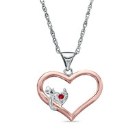 Lab-Created Ruby Lil' Devil Heart Pendant in Two-Tone Sterling Silver - View All Necklaces - Zales