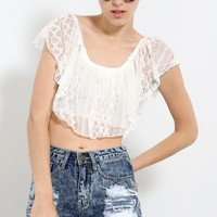 Lace Overlay Ruffle Crop Top | MakeMeChic.com